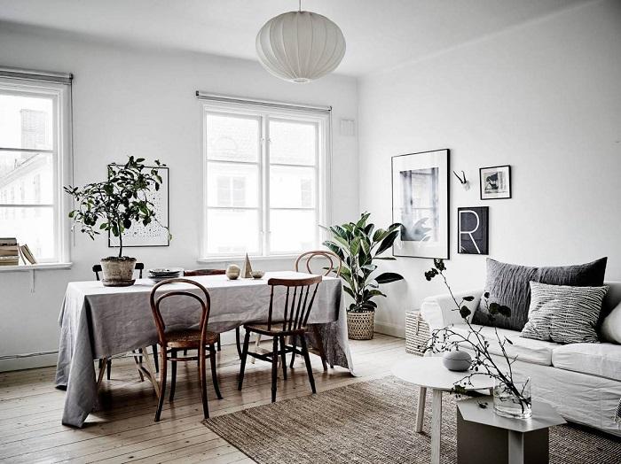 白色北欧家居餐厅窗户效果图