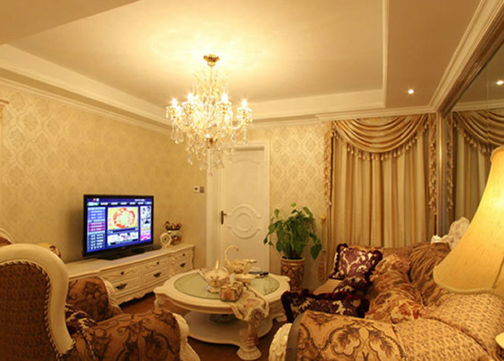 温馨简欧式客厅吊顶装饰效果图
