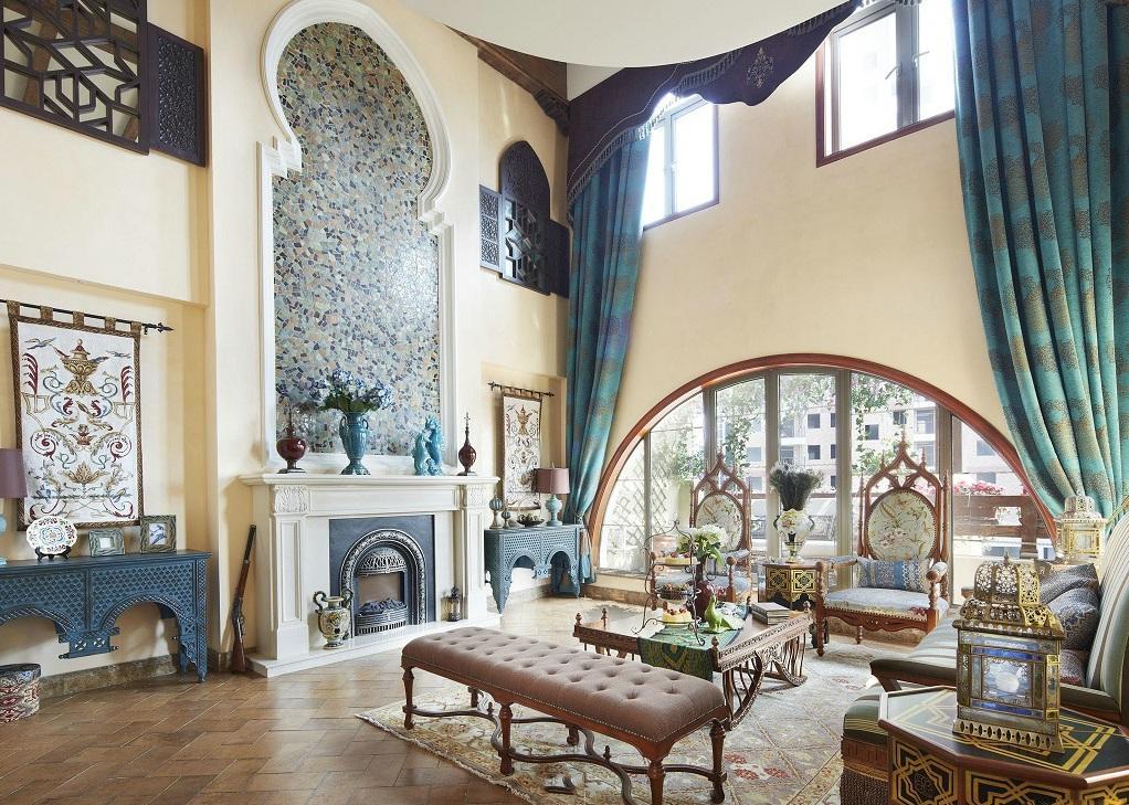 复古欧式田园风格客厅背景墙效果图