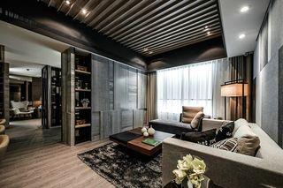 沉稳现代复古四室一厅装潢案例图