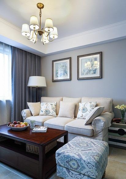 简朴田园风光美式客厅三人沙发装饰效果图