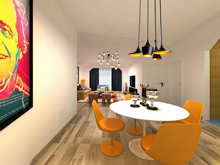 多彩清新北欧设计餐厅装修效果图大全