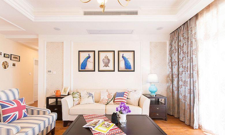 怀旧美式风格家居客厅软装装饰图