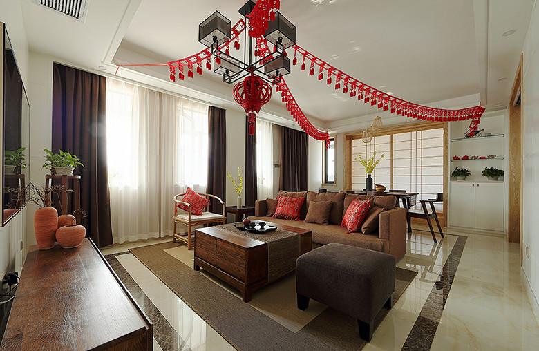自然休闲中式禅风客厅吊顶效果图