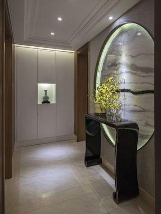 时尚豪华新中式别墅玄关圆形背景墙效果图图片
