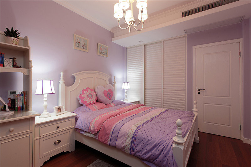 粉紫色美式风格梦幻儿童房设计装修欣赏图