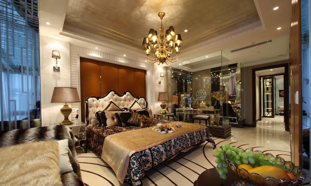 奢华欧式新古典卧室金色吊顶效果图