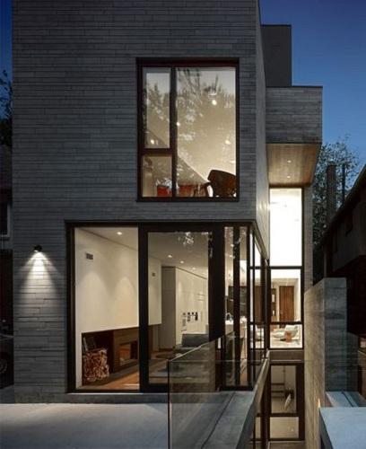 时尚灰简约现代别墅外墙建筑效果图