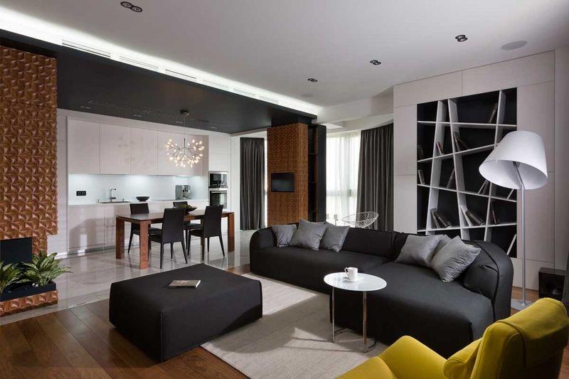 黑白简约时尚公寓小客厅室内设计图片