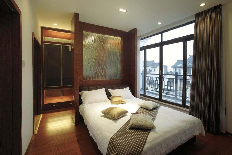 简约中式卧室背景隔断效果图