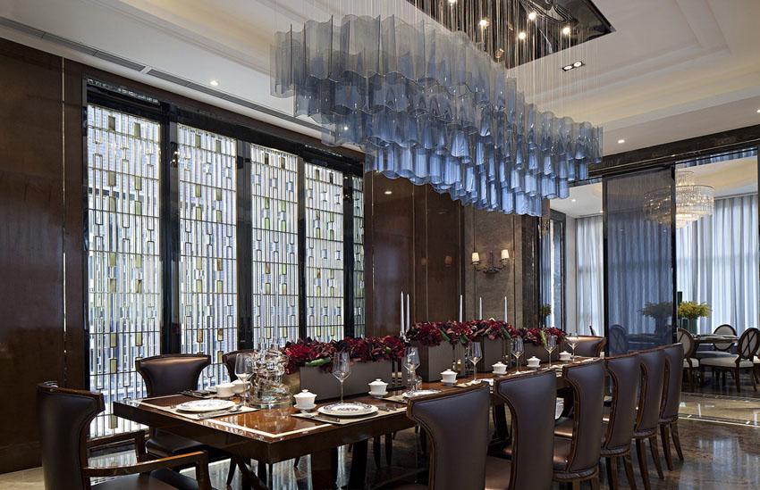 唯美奢华新古典餐厅吊顶水晶灯图片