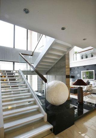 通透现代时尚别墅家装楼梯玻璃护栏设计图