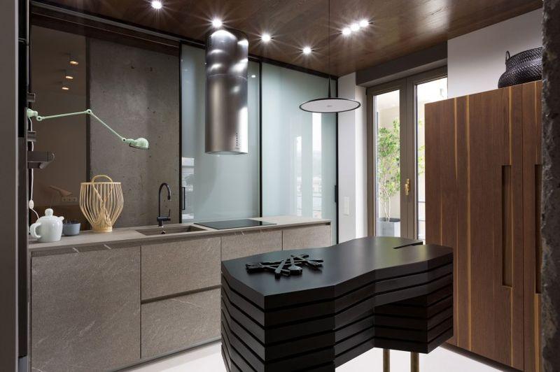 咖啡色现代装修风格厨房吧台设计图