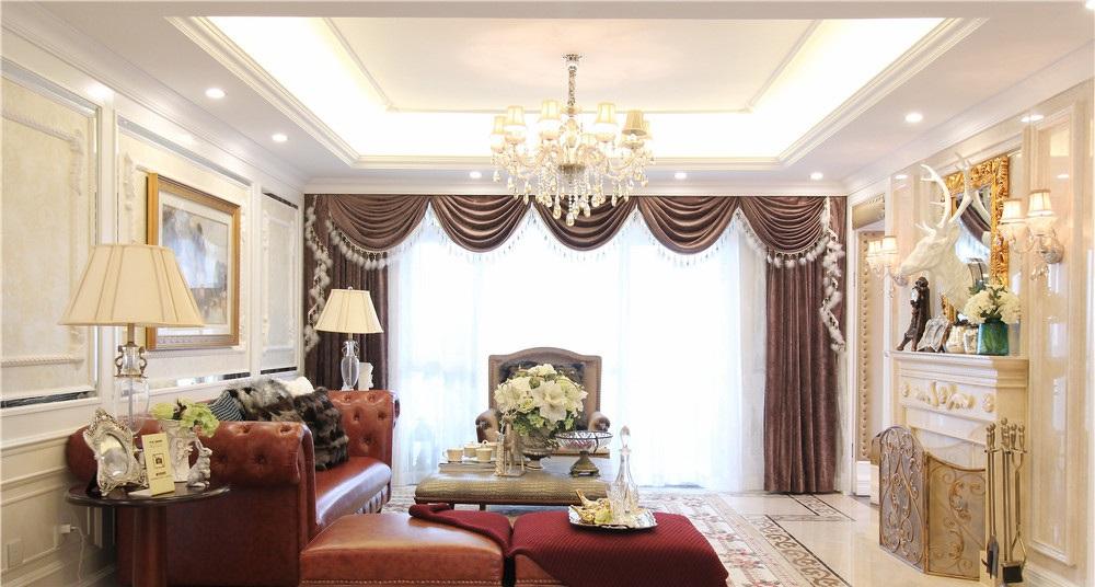 欧式新古典客厅窗帘效果图