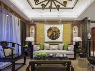 精美典雅新中式客厅沙发背景墙装修图片
