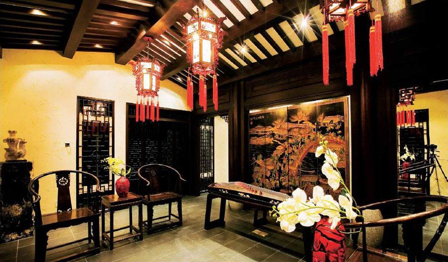 儒雅古典宫廷中式风格家居背景墙壁画效果图