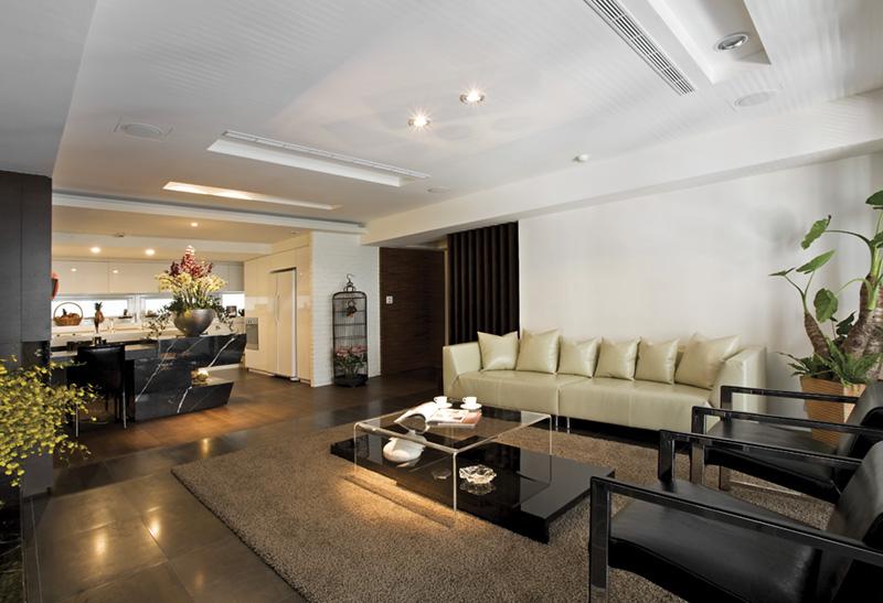 简约现代风格客厅吊顶效果图