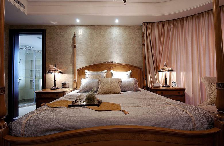 唯美美式装饰风格卧室灯光效果图
