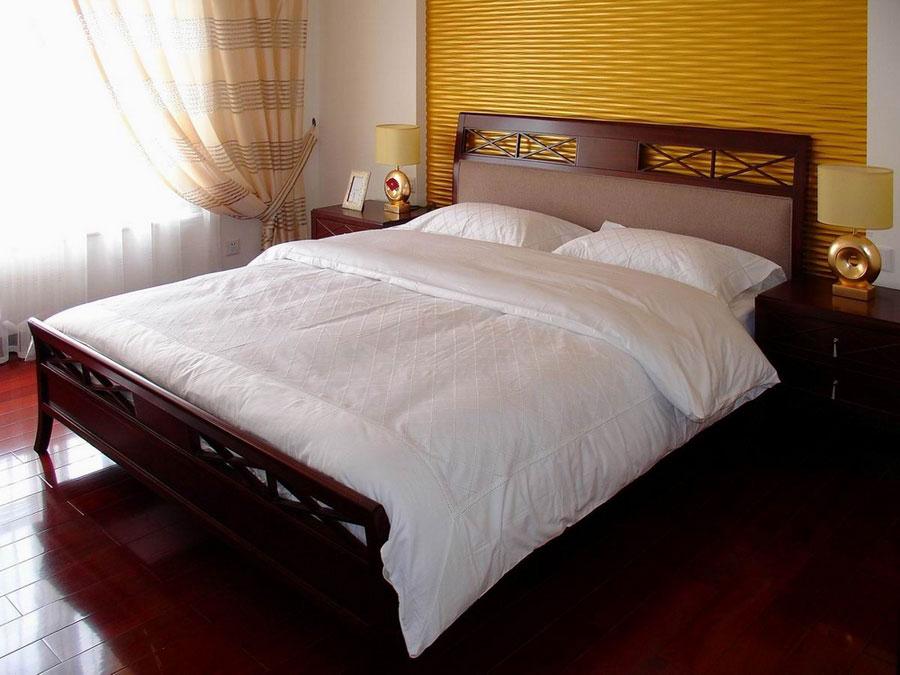 简约新中式卧室实木床布置