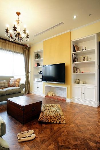 清新复古宜家风格客厅收纳背景墙装修设计图