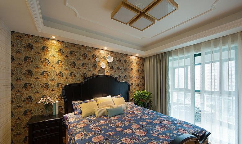 碎花田园混搭风格卧室壁纸装饰效果图