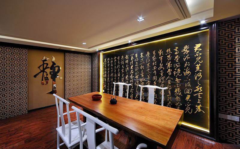 儒雅新古典中式餐厅古词背景墙设计