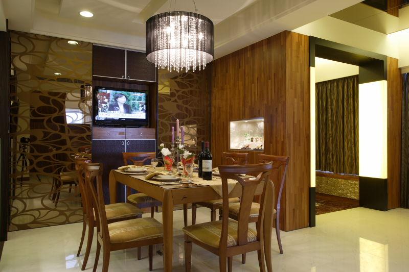 精美咖色系低奢现代风格餐厅镜面背景墙设计