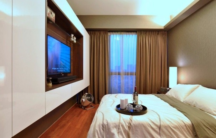 素雅现代简约风格公寓卧室背景墙电视柜设计图