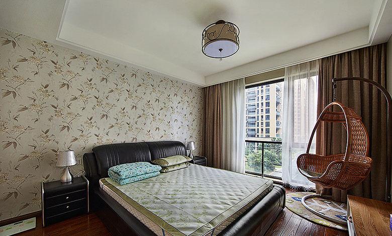 素色雅致现代家装卧室墙纸设计效果图