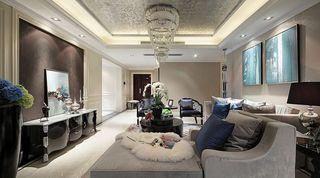 黑白摩登欧式新古典风格设计三居室效果图