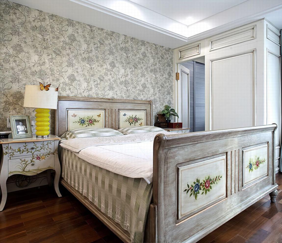 素雅美式新古典风格室内卧室墙纸效果图