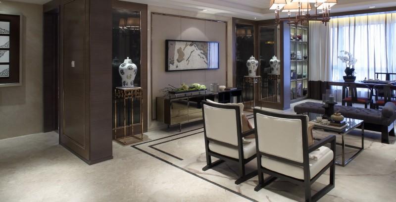 中式新古典装修客厅隔断设计