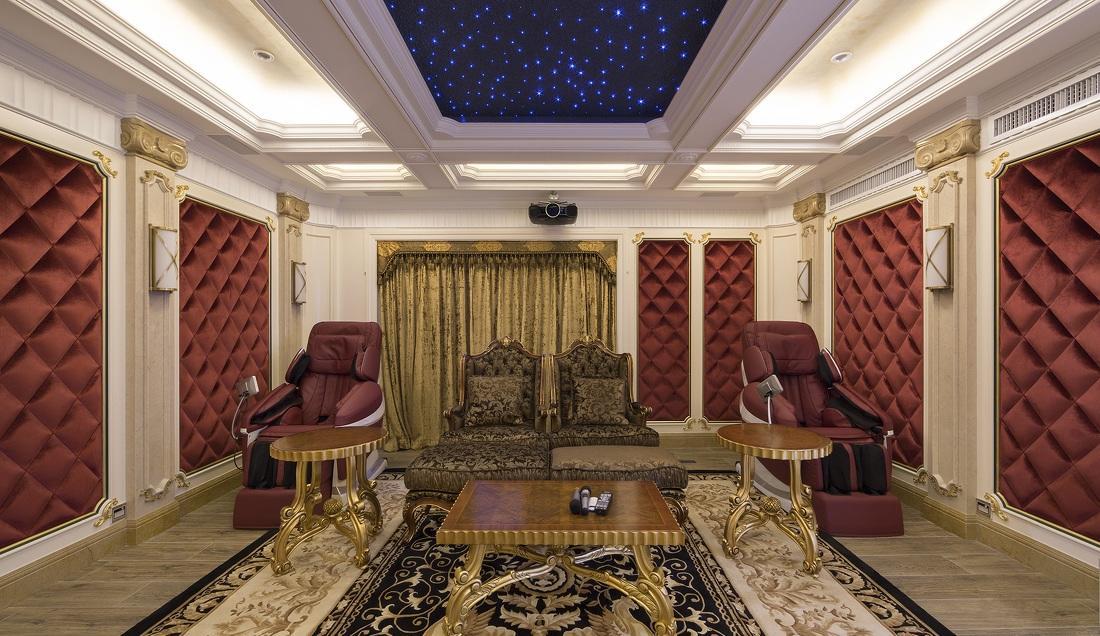 奢华欧式风格别墅家庭影院设计装修效果图
