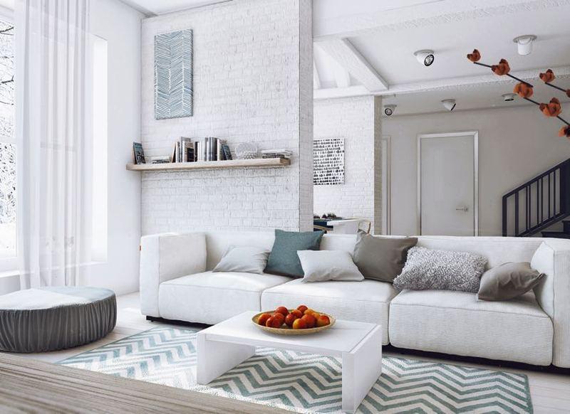唯美简约复式客厅三人沙发装潢欣赏图