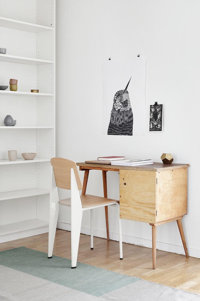 白色简约北欧家装风格书房手工制作书桌效果图