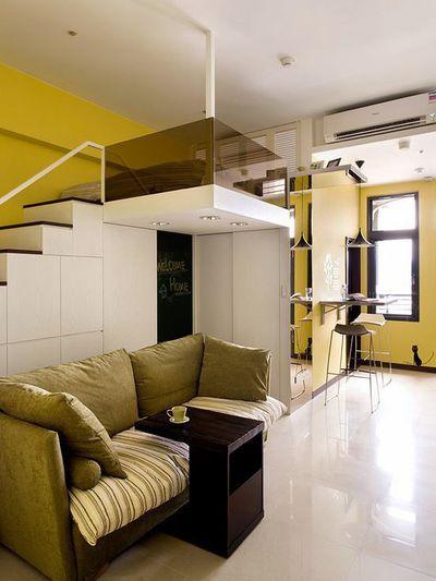 现代黄色梦幻小复式家装隔断设计效果图