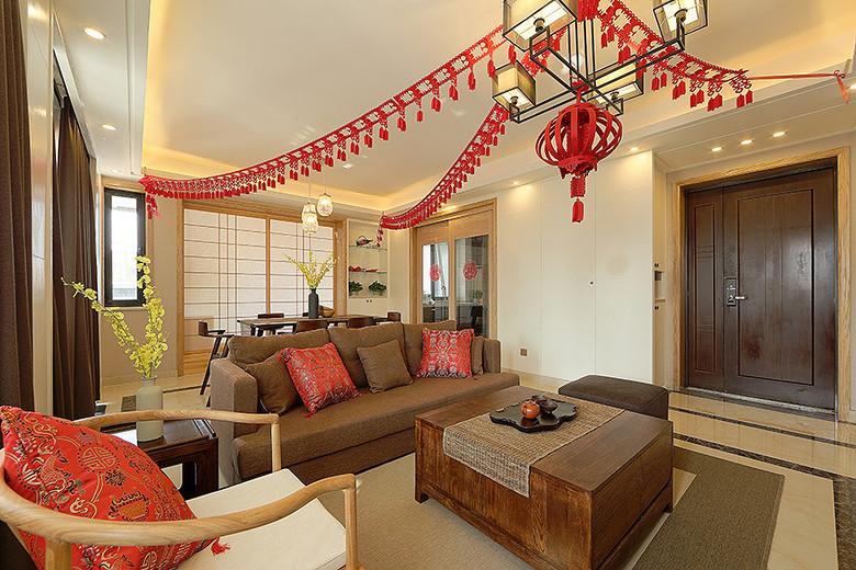 简约中式禅风客厅咖啡色沙发效果图