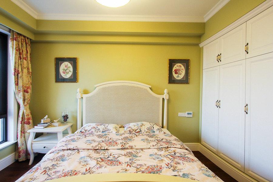 暖色系美式风格卧室背景墙装潢效果图