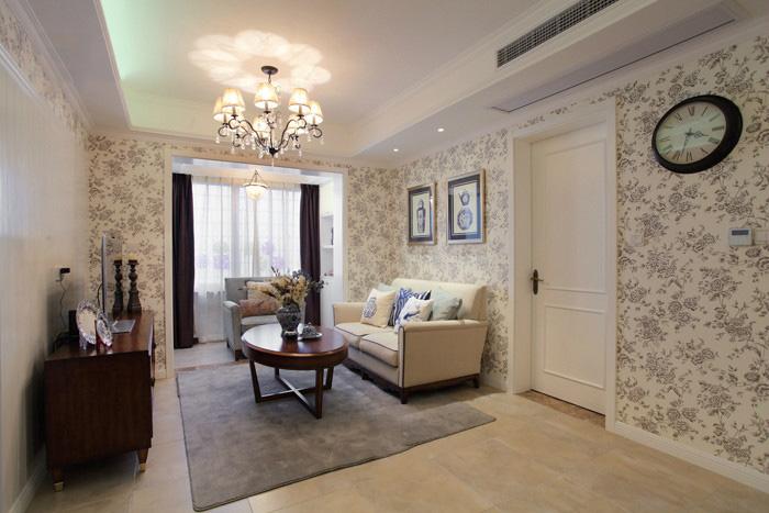 素雅田园风格客厅背景墙墙纸装修效果图