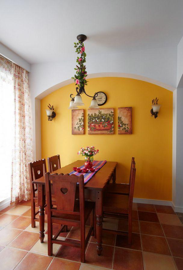 精美田园风格一居餐厅背景墙装饰效果图