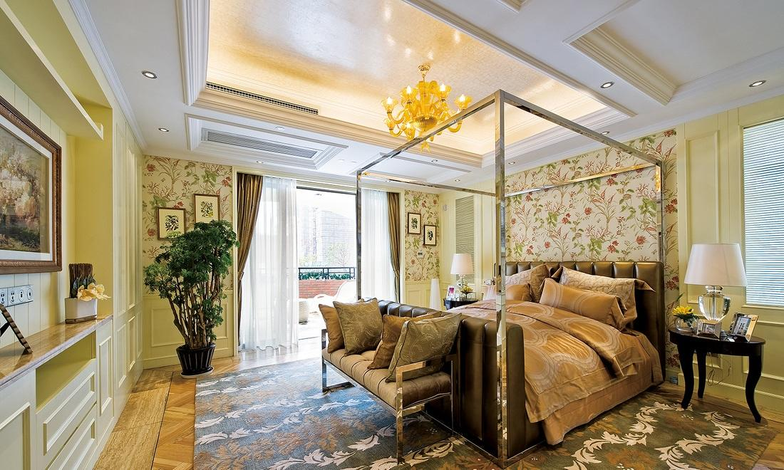 奢华欧式碎花田园风卧室背景墙效果图
