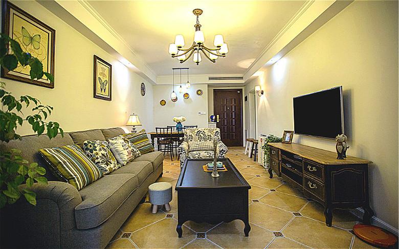85平美式装修风格二室一厅效果图