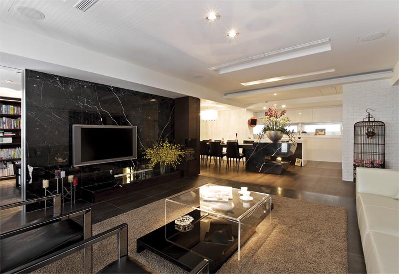 138平奢华时尚黑色系现代风格设计三居室设计