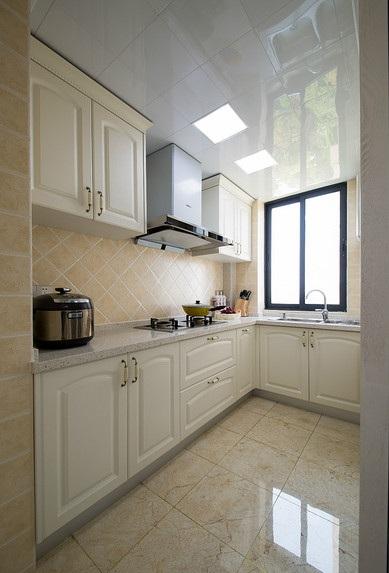 舒适简欧风格厨房白色橱柜效果图