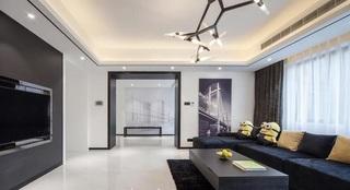 黑白时尚简约现代风小户型公寓装饰效果图