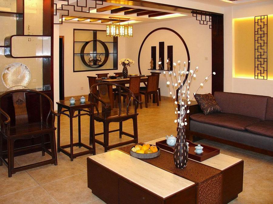 精致古典中式客厅实木家具效果图