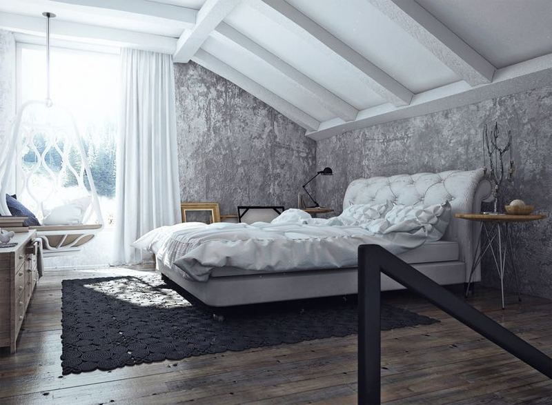 灰白雅致简约风格复式斜顶卧室设计装修效果图