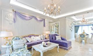 浪漫紫色简欧式客厅软装效果图