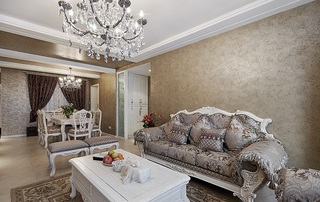 高贵华丽欧式三居室设计装修效果图