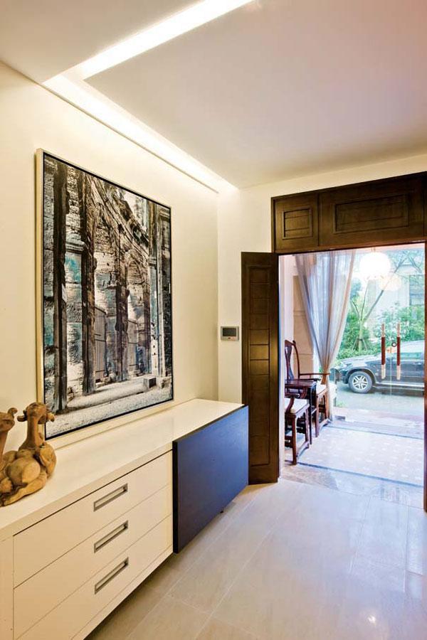 时尚简约玄关门厅涂鸦装饰画效果图